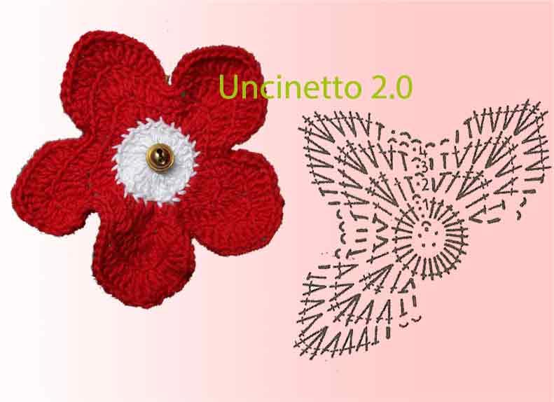 Schema di un Fiorellino a uncinetto -